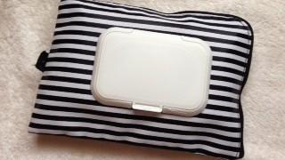 セリアの白黒ボーダーポーチでおしりふきケースを作ってみました