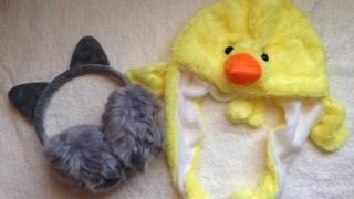 ダイソーでのお買い物♪ガールズトレンド研究所のイヤーウォーマーと年賀状用のヒヨコの帽子を購入しました